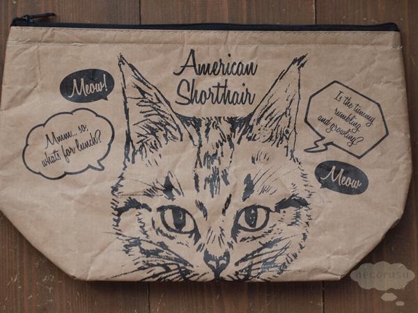 セリアの猫柄クラフトランチバッグ、クラッチタイプ