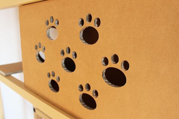 サノスケ不動産猫用賃貸住宅に展示してあった段ボール製キャットウォーク