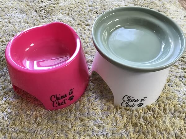 オーカッツのお皿を100円ショップの猫用お皿台座に載せる